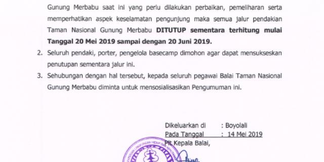 Penutupan Sementara Jalur Pendakian Gunung merbabu 20 Mei-20 Juni 2019